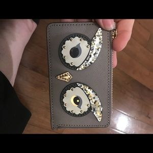 Kate spade authentic gray owl keychain wallet.
